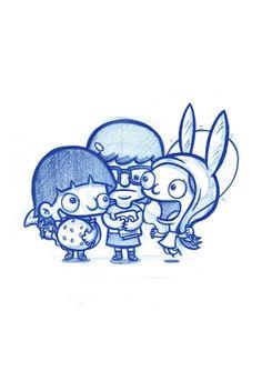 Blue Doodles Gene, Tina and Louise from Bob's Burgers! Cartoon Drawings, Cute Drawings, Col Erase Pencils, Burger Drawing, Tina Belcher, Bob S, Nerd Love, My Spirit Animal, Princesas Disney