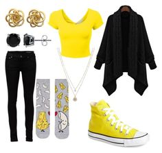 My Hufflepuff by ramadiii on Polyvore featuring polyvore fashion style Yves Saint Laurent Topshop Converse LC Lauren Conrad BERRICLE clothing