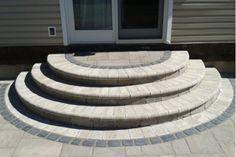 70 Ideas Paver Patio Steps Shape For 2019 Brick Steps, Patio Steps, Concrete Steps, Patio Ideas With Steps, Stone Steps, Backyard Patio Designs, Diy Patio, Patio Flooring, Brick Patios