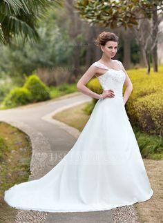 A-Line/Princess Sweetheart Chapel Train Chiffon Wedding Dress With Ruffle Lace Beading (002011638)