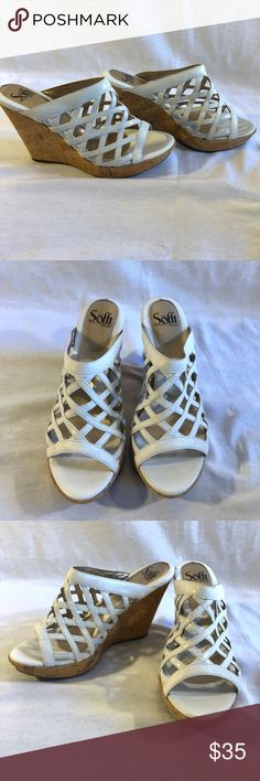 "Soft Basket Weave White Patten Leather Sandal Worn once. Great condition! 4.5"" heel. Soft Shoes Sandals"