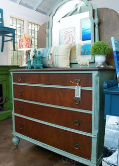 Salvaged Inspirations | Featuring Pleasant Pickins Open House | Stained-and-Painted-Dresser