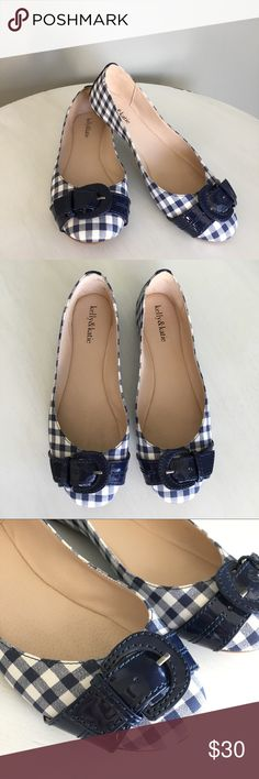 Kelly & Katie Ballet Flat, Size 8.5, Gingham Blue Kelly & Katie Ballet Flat, Size 8.5, Gingham Blue with adorable Patent Leather Buckle and Heel Details, EUC, super cute, plaid checkered, smoke free/pet free home, bundle for a discount  Kelly & Katie Shoes Flats & Loafers