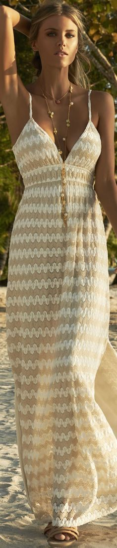 MELISSA ODABASH PETRA OVER-THE-SHOULDER LONG KNIT DRESS CREAM/GOLD Boho Outfits, Stylish Outfits, Woman Outfits, Stylish Clothes, Summer Outfits Women, Outfit Summer, Melissa Odabash, Embroidery Fashion, Outfit Combinations