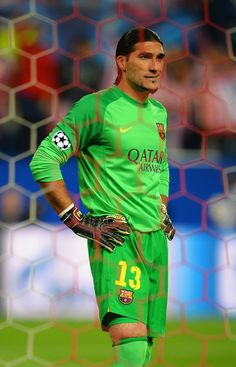 A dejected Jose Manuel Pinto of Barcelona at the final whistle during the UEFA Champions League Quarter Final second leg match between Club Atletico de Madrid and FC Barcelona at Vicente Calderon Stadium on April 9, 2014 in Madrid, Spain.