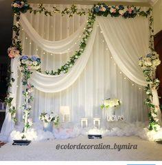 Simpel decor for hantaran… Wedding Backdrop Design, Wedding Reception Backdrop, Wedding Stage Decorations, Wedding Entrance, Engagement Decorations, Floral Backdrop, Backdrop Decorations, Decoration Buffet, Marriage Decoration