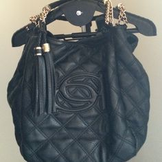 BCBG Handbag Black Large Bag with Gold Chain can carry all! Slight wear on handle. Lots of life left! BCBG Bags Satchels