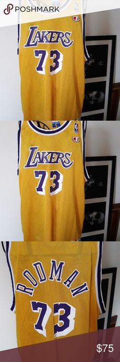 Shop Men s Champion Gold Yellow size XL Tank Tops at a discounted price at  Poshmark. Description  Rare Dennis Rodman champion Lakers jersey xl Sold by  Fast ... 212ad9177