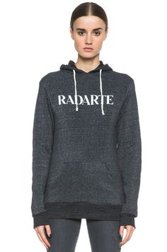 Rodarte Radarte Poly-Blend Hoodie in Black Heather | FWRD