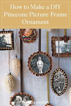 Make precious handmade frames to hold your family's memories of photos from your childhood, vacations, and special occasions. A single picture ornament—or a set—makes a lovely keepsake to share with family members or as a DIY Christmas ornament. #marthastewart #holidaygifts #diyprojects #diygifts #handmadegiftideas #christmasgifts