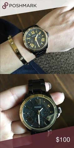 ef8e4d654de Women s fossil watch Black and gold fossil watch. Gave has no scratches and  battery still