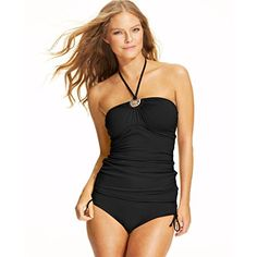 Michael Kors Halter Logo Tankini Top Black Large >>> See this great product.(This is an Amazon affiliate link)