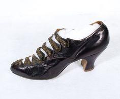 Beaded barette-style strap shoes, c.1900
