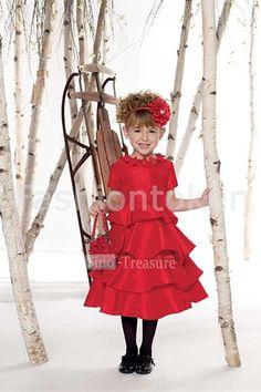 Light Red Scoop Short Sleeves Tea Length A-line Taffeta Flower Girl Dress #flowergirls #flowergirldress #cutedress #dress #beauty #cute #wedding #birthdaydress