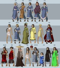 All of Katara's outfits/appearances. The painted lady was by far my favorite Katara appearance