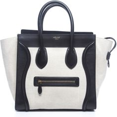 Pre-Owned Celine White Canvas Black Leather Mini Luggage Tote Bag (57.224.445 VND) ❤ liked on Polyvore featuring bags, handbags, tote bags, purses, bolsas, celine, white, white tote bag, mini canvas tote bags and white leather tote bag