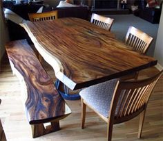 Natural Edge Monkeypod Wood Slab Dining Table with Custom Steel Base - traditional - dining tables - boise - Impact Imports Wood Slab Table, Dining Table With Bench, Modern Dining Table, Dining Room Table, Wood Tables, Steel Table, Live Edge Furniture, Rustic Furniture, Traditional Dining Tables