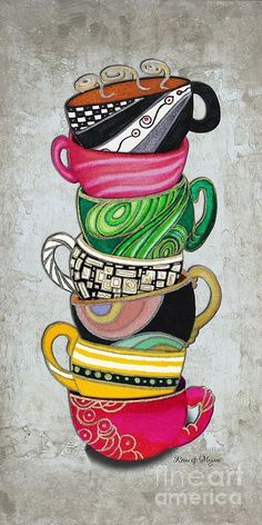 Colorful Coffee Cups Mugs Hot Cuppa Stacked II By Romi And Megan Painting  - Megan Duncanson
