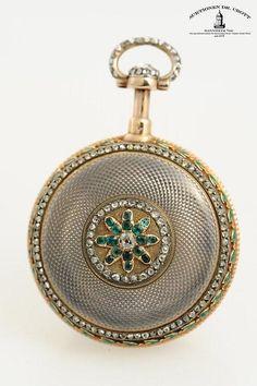 """A very fine, rare diamond-set gold enamel quarter repeating """"à toc"""" pocket watch…"""