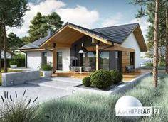 Projekt domu Mini 4 w. Modern Bungalow Exterior, Modern Bungalow House, Bungalow House Plans, Simple House Plans, New House Plans, Modern House Plans, Village House Design, Village Houses, Home Building Design