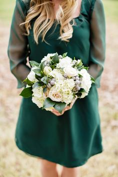 classic hydrangea, rose and silver brunia bouquet with magnolia leaves by Stacy at The Farmer's Wife