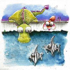 Original watercolor painting art illustration mouse, dragon, zebrafish pool by Lucia Stewart - eBay<3<3<3