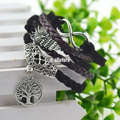 Infinity Owl Tree of Life Pendant Leather Bracelet  #love #oneofakind #shopping #onlineshopping #smallbusiness #deals #photooftheday #clothing #accessories #discount