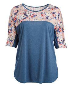 Look at this #zulilyfind! Melange Blue Floral Contrast Dolman Tunic - Plus #zulilyfinds