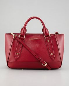 Small Patent Calfskin Tote Bag, Crimson by Burberry at Neiman Marcus.