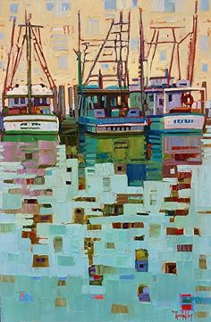PIER 19 LINE UP-Rene Wiley-36x24x1.5 inches-Oil on Canvas by René Wiley Gallery Oil ~ x