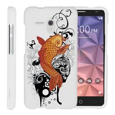Miniturtle® [Alcatel One Touch Fierce XL Slim Cover] -[Snap Shell] 2 Piece Fitted Rubberized Hard Cover Snap On White Case - Koi Fish