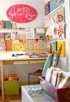 Anna Maria Horner's studio.  Love this space!