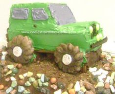 We made this Homemade Jeep Birthday Cake for my son's 14th birthday. He's saving to buy a jeep and thought a jeep cake would be pretty cool.    We baked