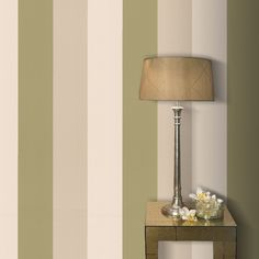 Graham & Brown Drama Figaro Olive/Gold Effect Wallpaper, 5011655572267 Gold Effect Wallpaper, Gold Damask Wallpaper, Cream Wallpaper, Brown Wallpaper, Gold Wallpaper, Wallpaper Panels, Green Striped Wallpaper, Striped Walls, Living Room On A Budget