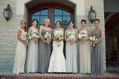 gray tones for bridesmaids, use white or a color for flowers to pop