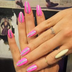 """""""Pink with holographic stripe for @laserkitten whattababe  single stripe nails v popular in the salon at the moment!!"""""""