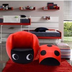 Kids Club Chair Sofa Ladybug Red Black Foam Wooden Bedroom Living Room Furniture