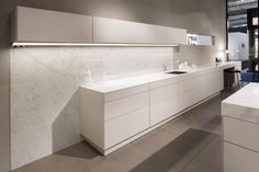 SieMatic PURE, color sterling grey with carrara marble,  worktop 6,5mm and 140mm