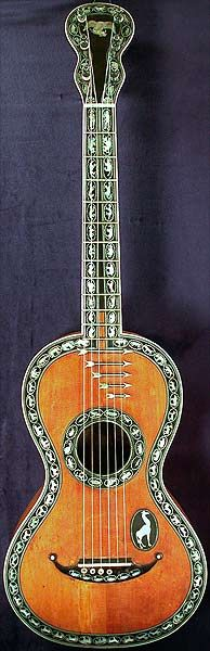 Early Musical Instruments, antique Romantic Guitar by Johanning & Ferry around 1820