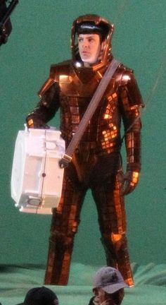 """Zachary Quinto in the """"Volcano Suit"""" from the set of Star Trek 2. He looks so confused..."""
