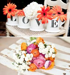 I can picture this cute little L-O-V-E arrangement pretty much anywhere, from decorating the bar or food tables, to one of the centerpieces.  This might also be an excellent DIY opportunity @Vicky Lee Lee Morrow