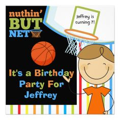 If he loves the sport of basketball and is having a basketball theme, sports theme, or a game of basketball for his birthday party he'll love these Basketball birthday party invitations that are easy to customize with all his birthday party specifics. Features colorful text in green, orange, and blue with a backboard and net, basketball, striped background, and a smiling brown haired stick figure boy! #birthday #customized #kids #basketball #sports #basketball #birthday #team #party #bball…