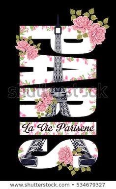 Paris slogan with flower art fashion style on black background Paris Background, Theme Background, Paris Room Decor, Paris Theme, Paris Eiffel Tower, Tour Eiffel, Pineapple Wallpaper, Paris Wallpaper, Shirt Print Design
