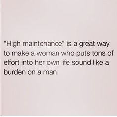 Always been known as the 'high maintenance girl'. For me that's always been a negative and made me feel like people are taking a dig at me. I LOVE this post because it clarifies - the fact that I want to put effort into myself does not make me a burden or a b**tch. I put effort into myself bc it makes me feel good. • If you like me for me, great, if you think me taking care of myself is a threat to how you feel about yourself then 'high maintenance'  is how myself & other similar ladies will…