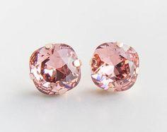 Rose Gold Crystal Earrings . swarovski crystal by CocoroJewelry