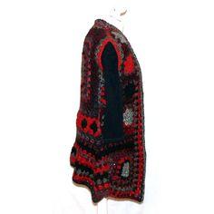 SALE black red Crochet Vest, Boho, OOAK, Freeform, desigual inspired... ($56) ❤ liked on Polyvore featuring outerwear, vests, red vest, bohemian vest, macrame vest, vest waistcoat and crochet vest
