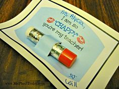 """Back-to-School Teacher Gift idea - I am so """"CHAPPY"""" you're my teacher with DIY bling chapstick/lip balm- Includes FREE printable! www.MePlus3Today.com"""