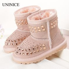 2016 Winter New Fashion Children Snow Boots Reihnstone Kids Leather Boots Warm Shoes With Fur Princess Baby Girls Ankle Boots #>=#>=#>=#>=#> Click on the pin to check out discount price, color, size, shipping, etc. Save and like it!