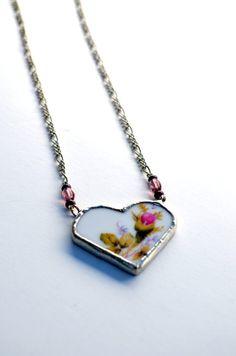 Heart Jewelry Vintage Broken Plate Heart by BayouGlassArts on Etsy, $56.00