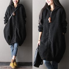 Thick warm woolen coat - Tkdress  - 1